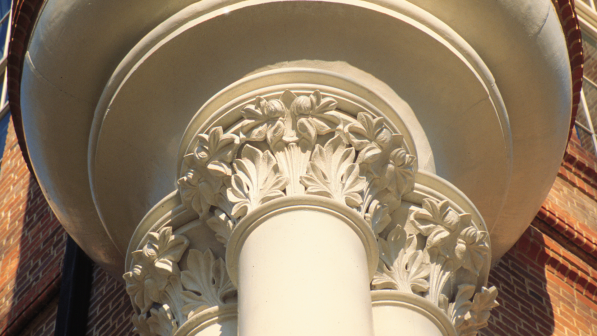 Closeup of a building column