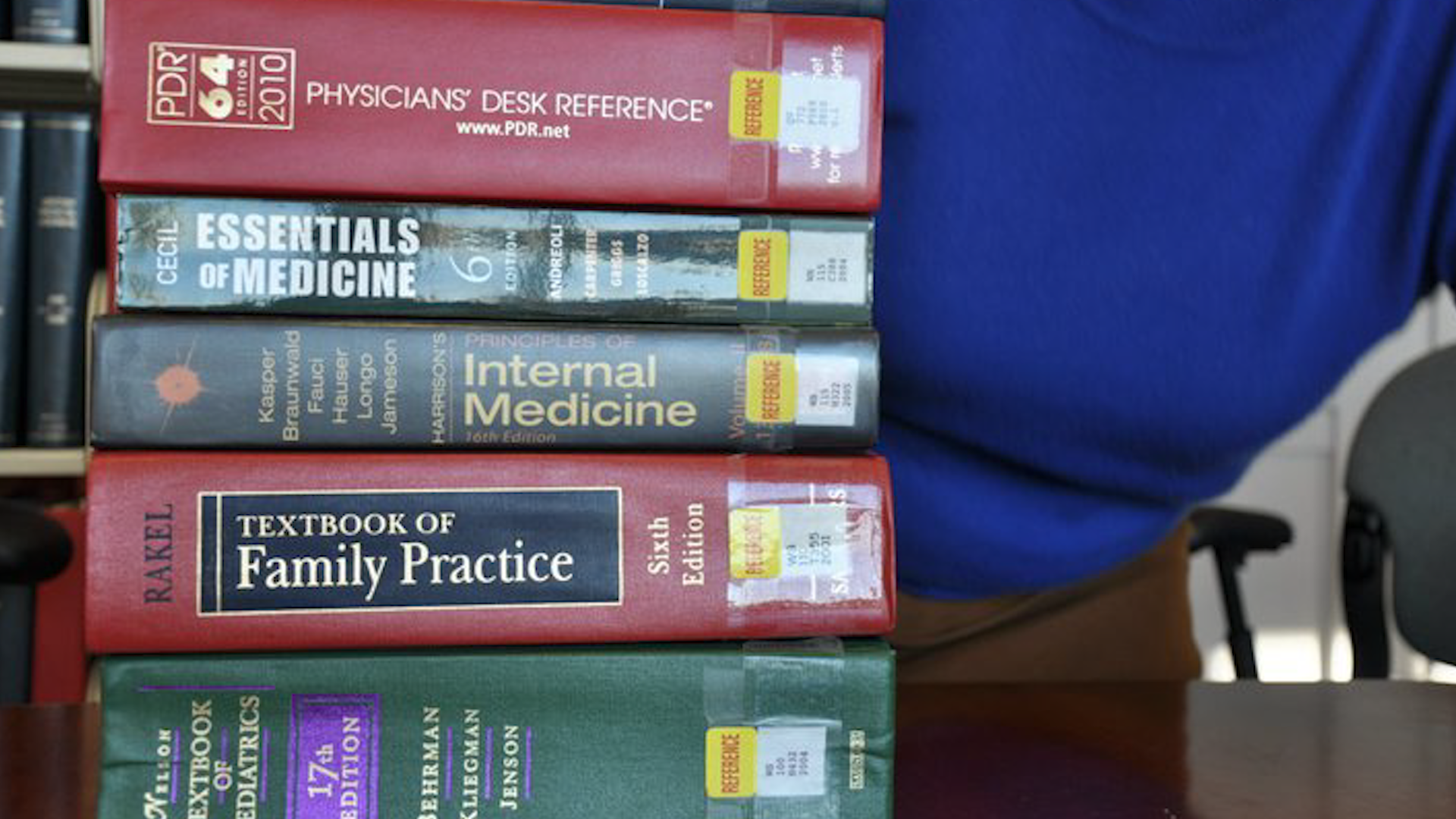 Closeup of a stack of books