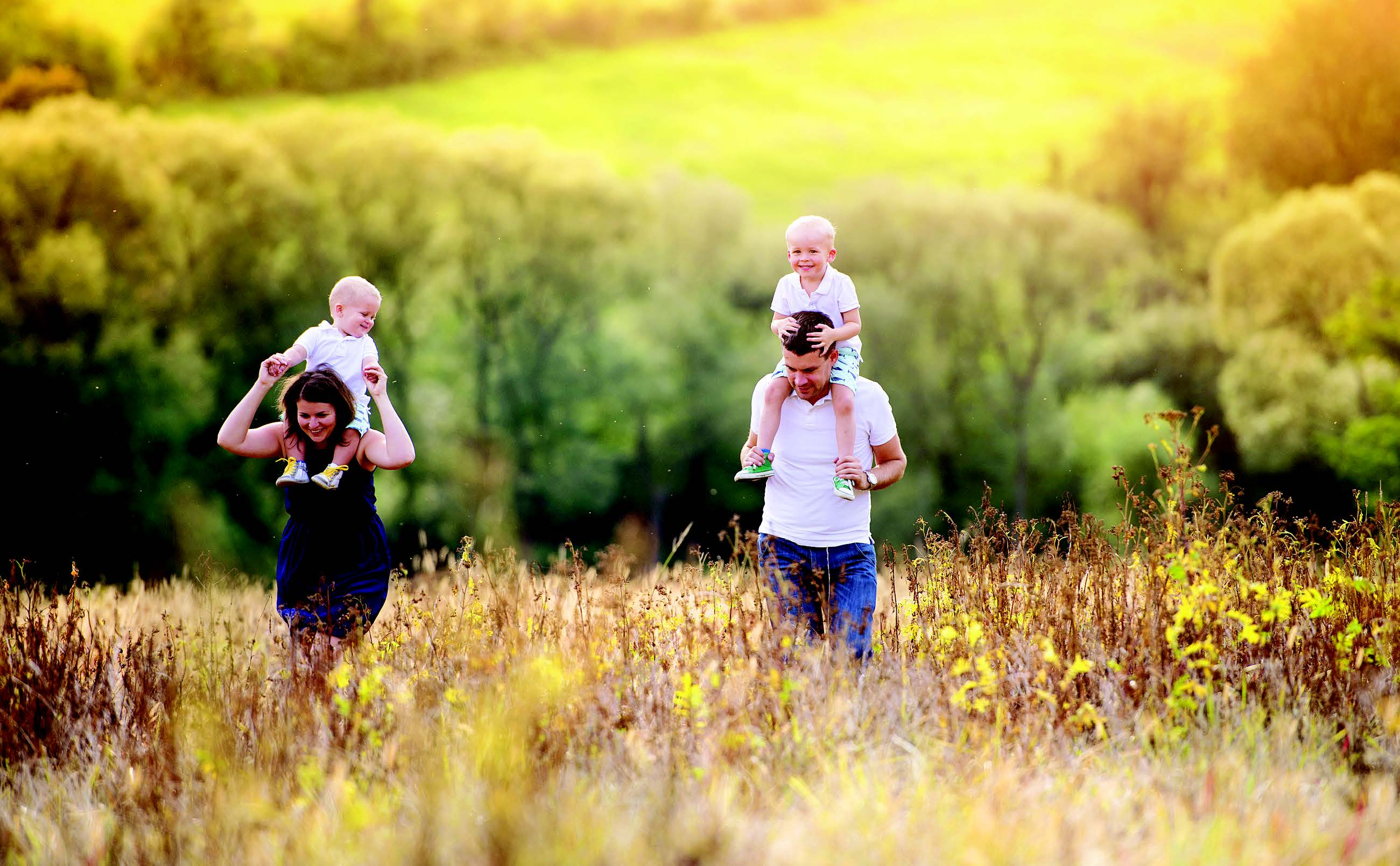 Family in a wheat field
