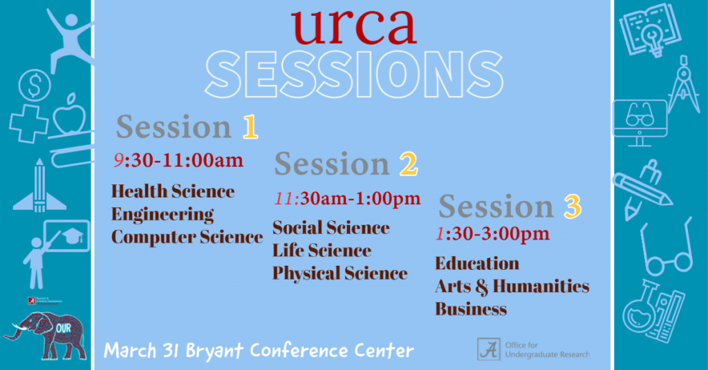 URCA Sessions - Session 1 9:30-11am - Session 2 - 11:30-1pm - Session 3 - 1:30-3pm - March 31 - Bryant Conference Center